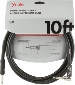 Fender Professional Series Instrument Cable Straight-Angle 10' Black 3mt