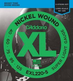 D'Addario EXL220-5 40-125 Nickel Wound Bass Long Scale