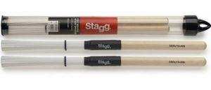 Stagg SBRU10-WN Spazzole Nylon Bacchette Impugnatura Legno