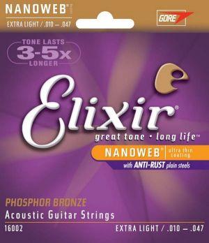 Elixir 16002 Nanoweb Extra Light Acoustic Phosphor Bronze 10-47