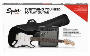 Squier Stratocaster Pack SSS BLK Black 10G Kit Completo per Chitarra Elettrica