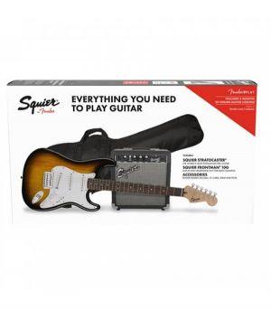 Squier Stratocaster Pack SSS BSB Brown Sunburst 10G Kit Completo Pack